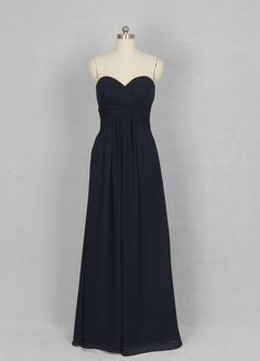 Dark Navy Bridesmaid Dress, A-line Sweetheart Floor-length Chiffon Bridesmaid Dress. $119.00, via Etsy.