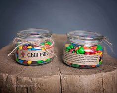 Having a bad day? Take a chill pill! This fun Chill Pill jar (candy not included) makes a perfect gift for anyone who appreciates a little humor within frustrating situations. Want to add your business logo and relate these to your business? Message me for more information on how these