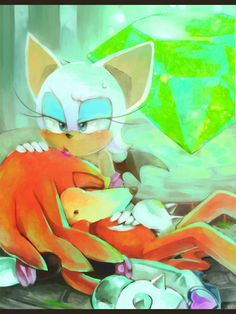 """372- Knuckles' eyes fluttered open. """"R- Rouge? Is that you?"""" """"Yeah, yeah it's me."""" """"Wh- where am I?"""" """"In Shadow's cabin. Don't talk now."""" """"Is Scourge?"""" """"We haven't seen him."""" Knuckles sighed in relief. Then he pulled out a device. """"I gotta... tell Espio... that I made it."""" """"Huh?"""" It a second Espio appeared on the screen. """"Knuckles, you ok?"""" """"A bit weak, but I'm safe."""" """"You made it then?"""" """"Yep."""" """"Espio?! Is that you?!"""" Amy cried. """"Hey, you guys!"""" """"How are things on your end?"""" Knuckles asked."""