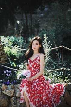 only Red Floral Dress Elegant Dresses, Beautiful Dresses, Korean Beauty Girls, Fashion Models, Fashion Outfits, Red Floral Dress, How To Look Classy, Girl Model, Beautiful Asian Girls