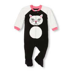 Baby And Toddler Girls Long Raglan Sleeve Cat Graphic Blanket Sleeper