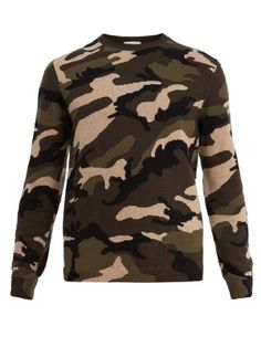 Camouflage intarsia-knit wool sweater | Valentino