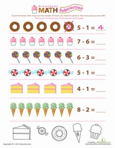 Preschool Counting & Numbers Subtraction Worksheets: Preschool Subtraction: Take Away the Sweets