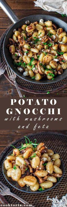 Pilze scharf anbraten. Gnocchi müssen nicht gekocht werden, sondern kommen anschließend mit Butter dazu... bis sie knusprig sind. Feta darüber krümeln... FERTIG! ❤ Mehr