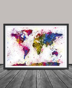 Watercolor World Map Art PrintSplash World Map by FineArtCenter
