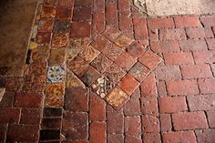 Medieval tiles, St Mary the Virgin Old Church in Preston Candover