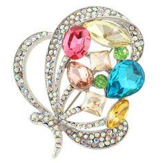 Ever Faith - papillon Art déco Broche multicolore Cristal Autrichien Plaqué Argent N03820-4