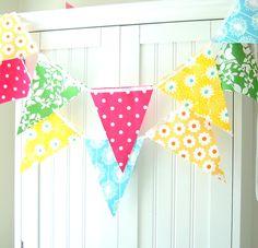 Girls Birthday Party Banner, Garland Party Banner Bunting, Yellow, Aqua Flowers, Bright Pink Poka dot, Green Leaf, Orange, Baby Nursery