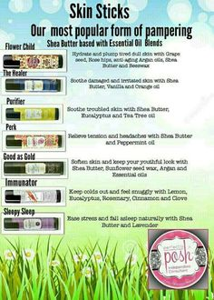 Our Skin Sticks are Shea Butter based with Essential Oil blends! For more information visit my website https://StayPoshwithSue.po.sh/