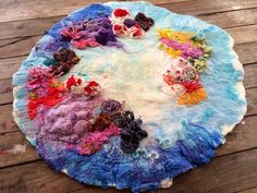 Custom Order Great Barrier Reef coral ocean sea hand felted wool silk fibre fiber art play story mat