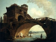 Hubert Robert, French painter (b. 1733, Paris, d. 1808, Paris) The Ponte Solarioc. 1775Oil on canvas, 91 x 121 cm National Gallery of Art, Washington. The Ponte Solario, constructed in the fourth century B.C., is one of the oldest of Roman bridges. It spans the river Aniene near its confluence with the Tiber, at a location just north of Rome. The crenellated tower serving as a tollhouse in Robert's time was a medieval addition.