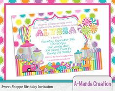 Sweet Shoppe Candy Store Printable Birthday Party Invitation