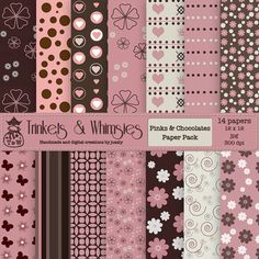 Pinks and Chocolates Digital Scrapbook by TrinketsAndWhimsies, $2.49