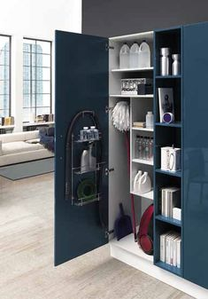 Blue kitchen cupboard, Navy kitchen cupboard, linen cupboard - Famous Last Words Blue Kitchen Cupboards, Blue Kitchens, Navy Kitchen, Laundry Cabinets, Kitchen Cupboards, Linen Cupboard, Cleaning Closet, Kitchen Design, Hide Appliances