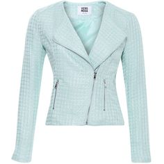 Vero Moda Jacket Trista Mint (295 ARS) ❤ liked on Polyvore featuring outerwear, jackets, coats, blazer, green, zip pocket jacket, green zipper jacket, mint jacket, vero moda jacket and vero moda