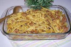 Fasolka szparagowa zapiekana z mięsem Polish Recipes, Polish Food, Pasta Salad, Macaroni And Cheese, Spaghetti, Food And Drink, Menu, Chicken, Ethnic Recipes