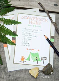 INSTANT DOWNLOAD Camping Printable Scavenger Hunt