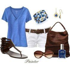 Love Royal Blue With Crisp White Shorts!