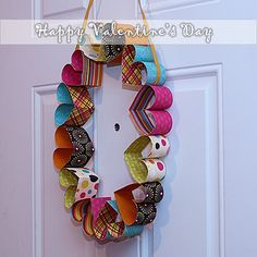 cardstock strips turned into hearts turned into a Valentine wreath!