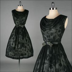 Vintage black illusion dress