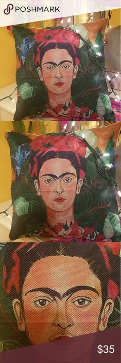 Frida Kahlo Pillow Case😍 Pillow case is about 16 inches by 16.5 inches. Love it! Never used just put on pillow to show look. Get it faster here and with tracking! Other