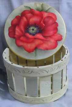 A Single Poppy Basket by Mary Wiseman Rock Art, Painted Rocks, Flower Art, Poppy, Creativity, Basket, Mary, Craft Ideas, Floral