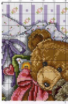 Joan Elliott '' Cross stitch TEDDIES ''Cozy Bears Cross Stitch Gallery, Cross Stitch Pictures, Cross Stitch Designs, Cross Stitch Patterns, Cross Stitch Boards, Cross Stitch Baby, Cross Stitch Animals, Crochet Cross, Crochet Bear
