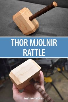 a wooden Mjolnir rattle for your miniature Thor. A great homemade Marvel toy.Make a wooden Mjolnir rattle for your miniature Thor. A great homemade Marvel toy. Kids Woodworking Projects, Woodworking Guide, Popular Woodworking, Fine Woodworking, Diy Wood Projects, Woodworking Furniture, Wood Furniture, Woodworking Square, Woodworking Classes