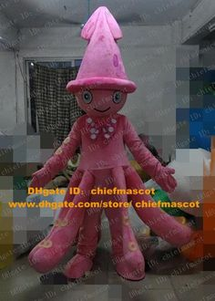 Online Cheap Smart Pink Ocopus Mascot Costume Mascotte Octopoda Cuttlefish Inkfish Squid Devilfish With Smiling Face Adult No.3830 Free Ship By Chiefmascot | Dhgate.Com