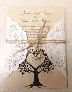 DIY Country Rustic Lace Wedding Invitations at InvitesWeddings.com ...