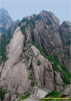 The Western Steps of Huang Shan by huangshantour.com: 15km of steep, narrow and winding steps hewn into the sheer granite face. #Huang_Shan #China #huangshantour