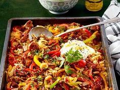 """""""A plate for all"""" -Oven-rice meat - Essen & Trinken - Gesund und lecker? eat and drink - healthy and tasty! Healthy Eating Tips, Clean Eating Recipes, Healthy Recipes, Grilling Recipes, Pork Recipes, Maila, Oven Dishes, Easy Casserole Recipes, Popular Recipes"""