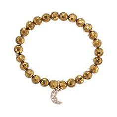 Beaded Charm Goldtone Stretch Bracelet