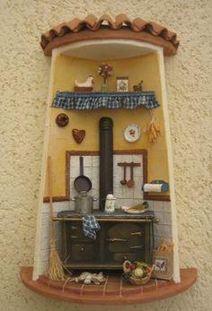 Vitrine Miniature, Miniature Rooms, Miniature Houses, Clay Houses, Ceramic Houses, Clay Fairy House, Fairy Houses, Painted Pavers, Flower Pot People