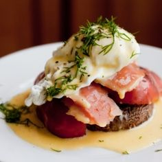 Smoked Salmon Eggs Benedict - gluten free using a grilled portabella mushroom