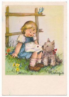 Russia Postcard GIRL & DOG PUPPY Mariapia 1966