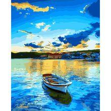Z DIY ramka, niebieski Jezioro i łodzi, modułowy zdjęć, obraz numerami, plakat, kolorowanie według numerów, płótno, wall art RS166(China (Mainland))