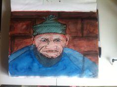 Old man - pen en ecoline