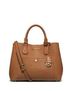 Greenwich Large Leather Tote Bag, Luggage/Watermelon by MICHAEL Michael Kors at Neiman Marcus.