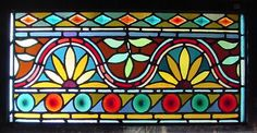 Antique American Stained/Jeweled Glass Transom w/Rondel decoration
