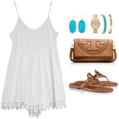 Dinner with friends by keswenson on Polyvore featuring Volcom, Tory Burch, Kendra Scott, Michael Kors and Kate Spade