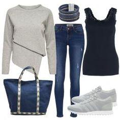 Ein Freizeit Outfit, das casual und modern ist. Der Pullover von Only ist ein Hingucker und wird mit einer Jeans und Adidas Sneakers kombiniert. Ein großer Shopper und das Armband sind farblich abgestimmt. Weitere Outfits für deine Freizeit findest du hier.  #Freizeit #Jeans #Sneakers