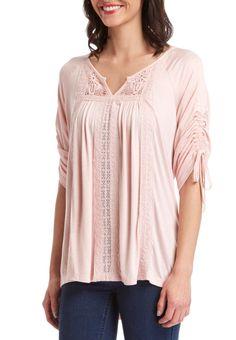 Blush embroidered Notch Neck Fashion Top #wholesaleclothing #wholesaleboutiqueclothing #wholesalefashion