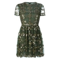 Valentino embellished tulle dress ❤ liked on Polyvore featuring dresses, green tulle dress, tulle cocktail dress, round neck short sleeve dress, short-sleeve dresses and round neck dress