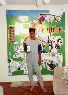 Jean Michel Basquiat photographed by Andy Warhol Jean Basquiat, Jean Michel Basquiat Art, Basquiat Artist, Basquiat Paintings, Pop Art Andy Warhol, Radiant Child, Bad Painting, Brooklyn, Graffiti
