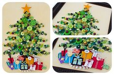 Fab Ideas on Button Crafts for Christmas Decorations - Christmas Button Crafts-Button Tree Christmas Greeting Card - Christmas Button Crafts, Christmas Buttons, Mini Christmas Tree, Christmas Projects, Winter Christmas, All Things Christmas, Holiday Crafts, Holiday Fun, Christmas Holidays