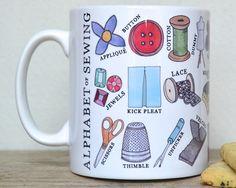 Sewing Alphabet Mug  Secret Santa Gift  Free UK by BeckaGriffin