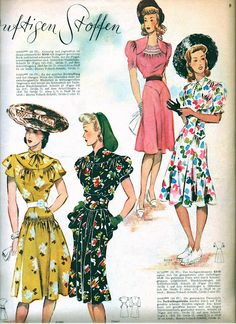 Wonderful warm weather looks from Neue Moden, June 1942 1940s Outfits, Vintage Outfits, 1940s Dresses, Vintage Dresses, Floral Dresses, Vintage Wardrobe, Vintage Clothing, 1940s Fashion, Vintage Fashion