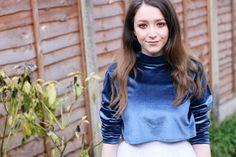 diy velvet top,velvet top,velvet blouse,blue velvet