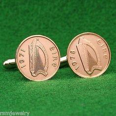 Irish Celtic Harp Coin Cufflinks, Half Penny (Small) Bronze Ireland